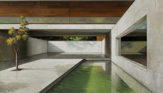 Shft paintings of modern architecture by jens hausmann for Sense of space architecture